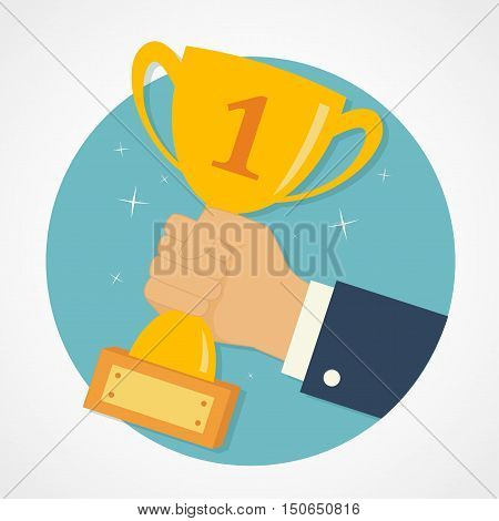 Male hand holding winner's cup. Winner trophy awards. Trophy cup flat icon. Winner cup vector illustration.
