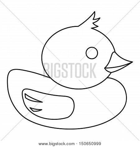 Duck icon in outline style on a white background vector illustration