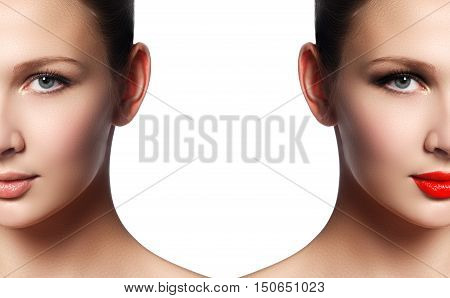 Beautiful Young Woman Before And After Make-up Applying. Compari