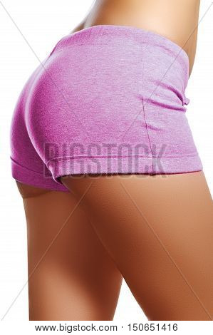 Slim Tanned Woman's Body. Isolated Over White Background. Woman'