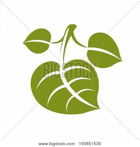 Flat Green Deciduous Vector Tree Leaf, Stylized Nature Element. Ecology Symbol, Can Be Used In Graph