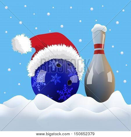 Vector Christmas bowling ball with Santa cap and pin on snowing background.