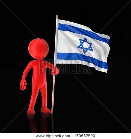 3D Illustration. Man and Israeli flag. Image with clipping path