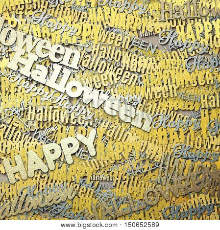 Happy Halloween phrase. Multilayer Pattern with multicolored words. 3d illustration with texture of gold and silver. Abstract Art background. Ornament for print the wrapping paper. Design template.