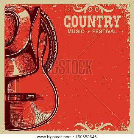 Country Music Card With Cowboy Hat And Guitar On Old Paper