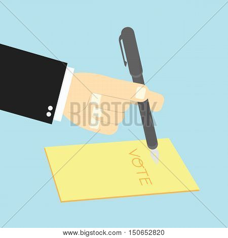 Voting Concept By Hand Writing Paper Vote