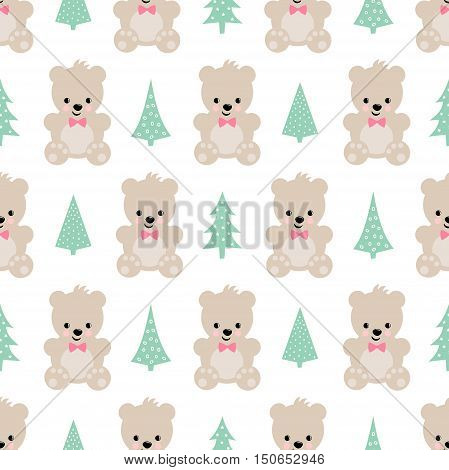 Teddy Bear with Xmas Trees seamless pattern on white background. Cute vector background with boy teddy bear and Christmas tree. Design for print on baby's clothes, textile, wallpaper, fabric.