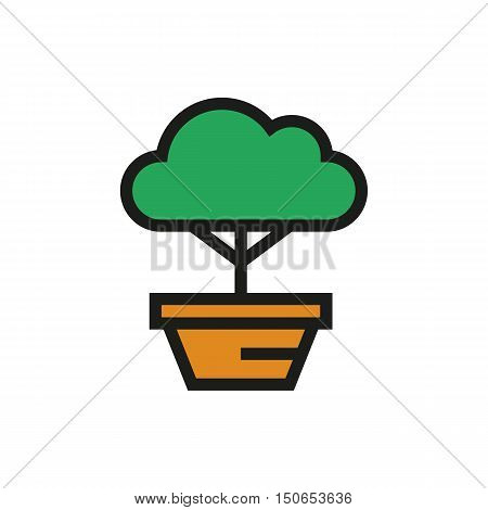 bonsai tree icon on white background Created For Mobile Web Decor Print Products Applications. Icon isolated. Vector illustration