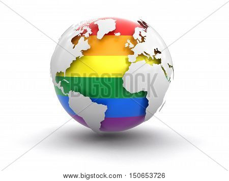 3D Illustration. 3d Globe with Gay Pride color. Image with clipping path