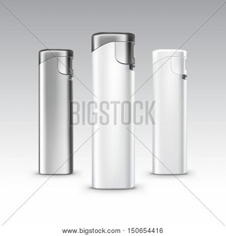 Vector Set of Blank White Plastic Metal Lighters Close up Isolated on White Background