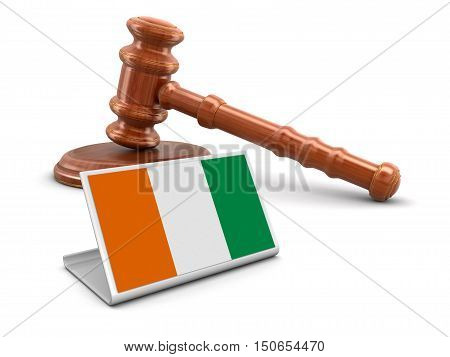 3D Illustration. 3d wooden mallet and Cote d'ivoire flag. Image with clipping path