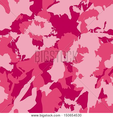 Vector Military Camouflage Pattern. Pink Hand Drawn Spots.
