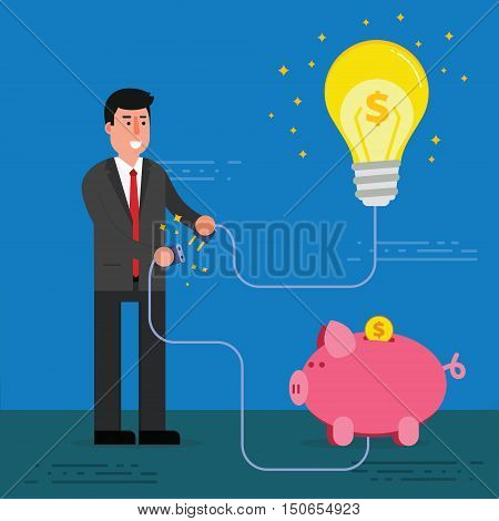 Young businessman or broker connect light bulb and piggy bank with electric plug. Startup or business idea funding concept. Business innovation project investment image. Vector illustration