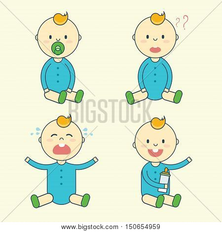 Cartoon baby boy emotion set. Newborn child or infant emoticon. Offspring or toddler with pacifier and milk bottle sitting smiling crying laughing and puzzled. Flat vector illustration