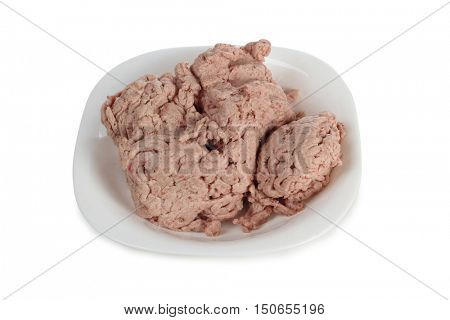 Minced meat on the plate on a white background