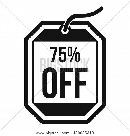 Sale tag 75 percent off icon in simple style on a white background vector illustration