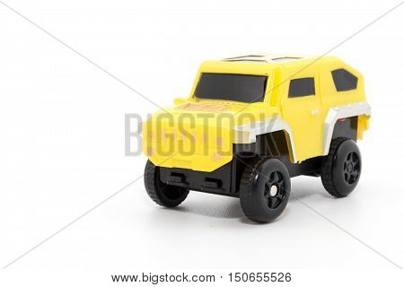 Yellow 4X4 you car  or monster car isolated on white