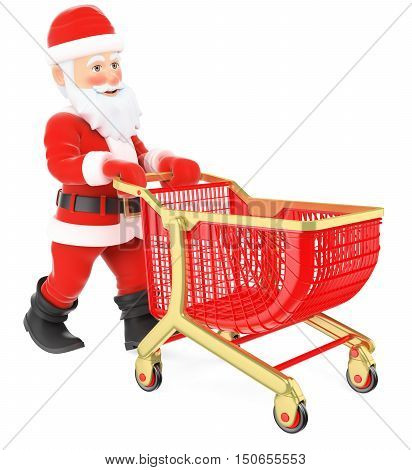 3d christmas people illustration. Santa Claus pushing a shopping cart. Isolated white background.