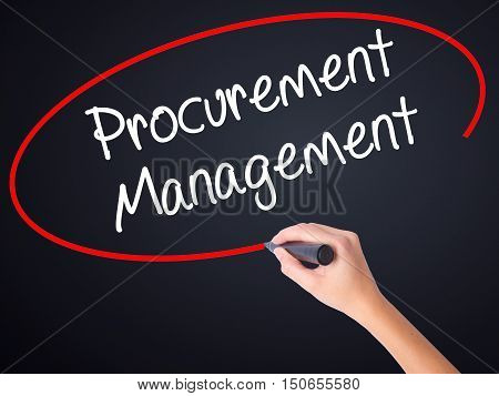 Woman Hand Writing Procurement Management With A Marker Over Transparent Board .