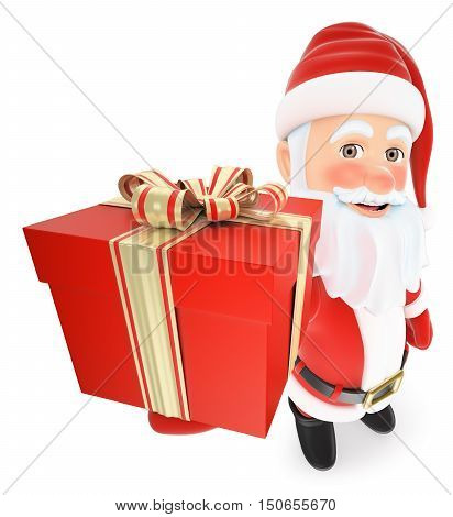 3d christmas people illustration. Santa Claus with a gifts with a ribbon. Isolated white background.