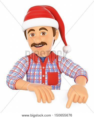 3d working people illustration. Handyman pointing down with a Santa Claus hat. Blank space. Isolated white background.