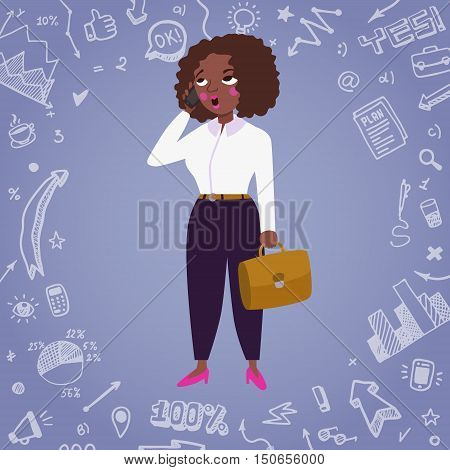 Business woman african american vector illustration with doodle drawings.