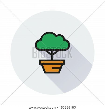 bonsai tree icon on round background Created For Mobile Web Decor Print Products Applications. Icon isolated. Vector illustration