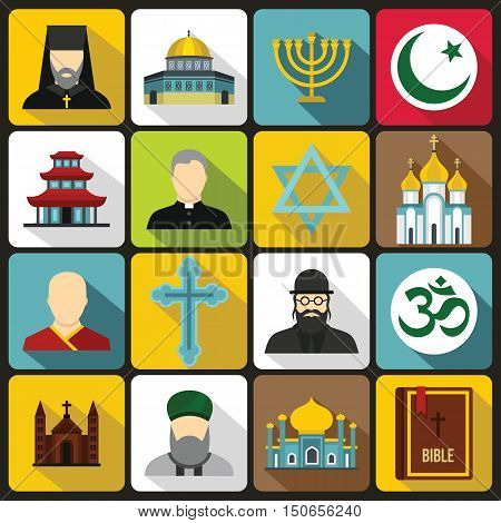 Religious symbol icons set in flat style. World religions and badges set collection vector illustration