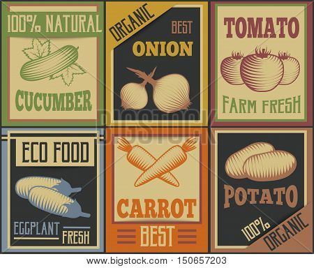 Six colorful retro style vertical cards set with vegetable symbols and advertising captions flat vector illustration