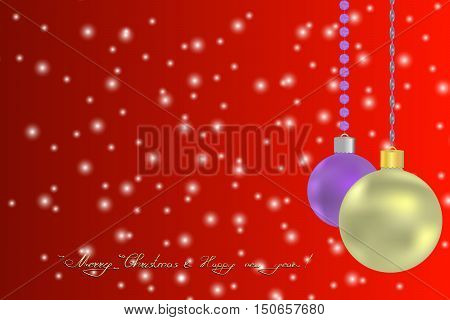 Merry christmas and New Year Greeting card witn sparkles an Christas balls