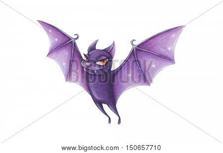 Halloween hand-drawn illustration. Cartoon Cute Bat.