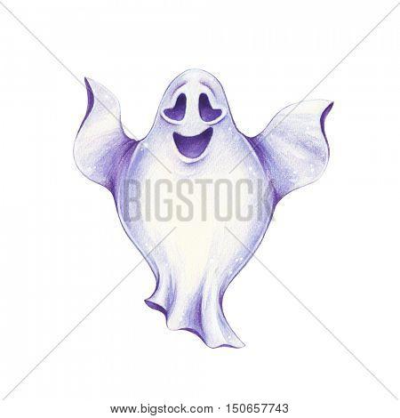 Halloween hand-drawn illustration. Happy Ghost.