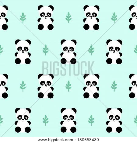 Panda with leaf seamless pattern on green background. Cute design for print on baby's clothes, textile, wallpaper, fabric. Vector background with smiling baby animal panda. Child style illustration.