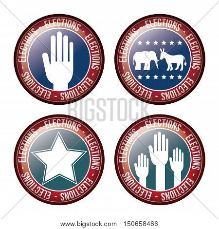 star hand donkey and elephant inside button icon. Vote election nation and government theme. Colorful design. Vector illustration