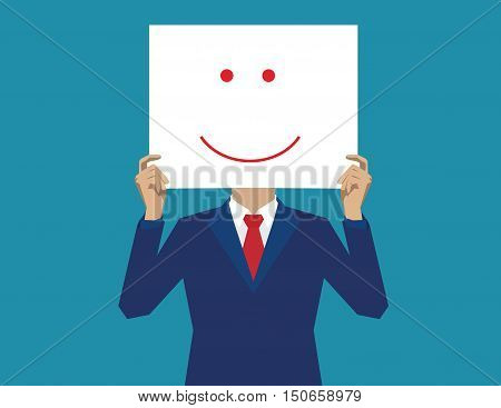 Businessman with smiley instead of the face. Concept business illustration. Vector flat