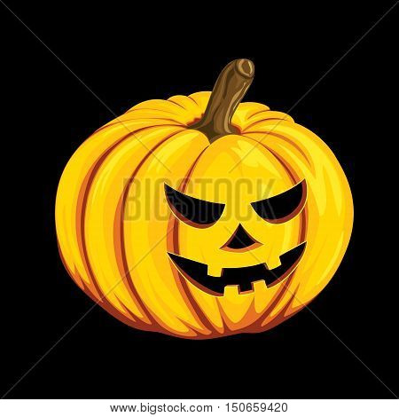 Halloween pumpkin icon in cartoon style. Jack o lantern object isolated on a black background. It can be used for your design greeting card party invitation banners print on a T-shirt logo. Vector illustration Eps10.