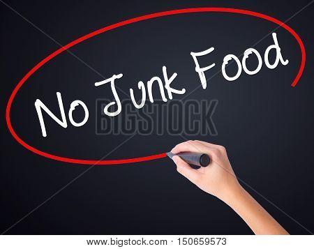 Woman Hand Writing No Junk Food With A Marker Over Transparent Board