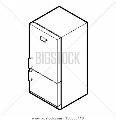 Fridge icon in outline style on a white background vector illustration