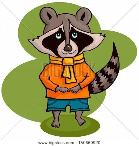 Vector illustration of cute raccoon. Character in a cartoon style.