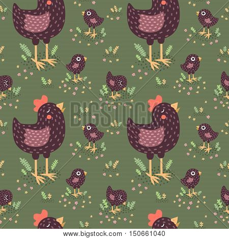 Cute cartoon black hens with baby chickens vector seamless pattern.