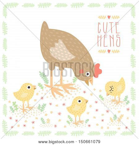 Cute cartoon brown hen with baby chickens vector illustration.