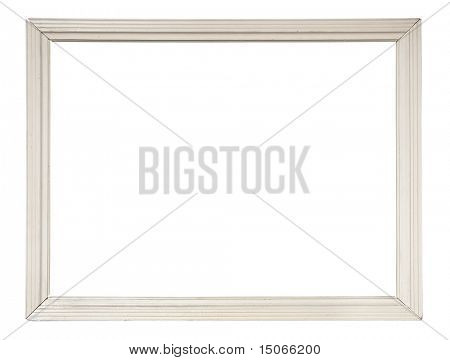white wooden picture-frame isolated with clipping path