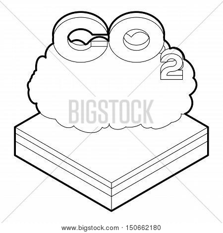 CO2 cloud icon in outline style on a white background vector illustration