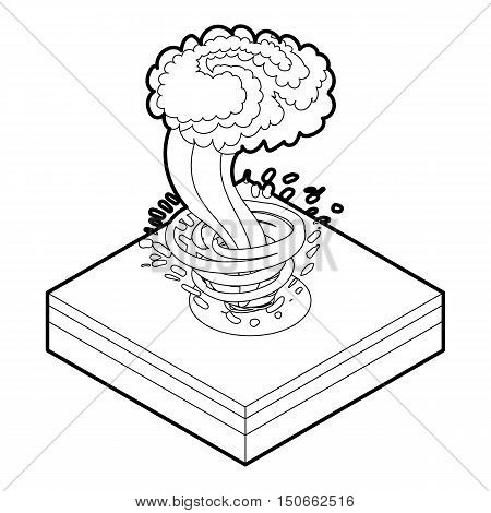 Tornado icon in outline style on a white background vector illustration