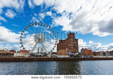 Gdansk Poland - October 04 2016: Ferris wheel on the Motlawa River waterfront in old city of Gdansk