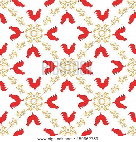 Colorful seamless pattern with red roosters. Symbol of 2017 year. Red rooster texture with gold floral ornament. Chinese New Year of the Rooster. Oriental happy new year illustration.