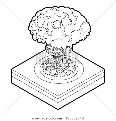 Nuclear explosion icon in outline style on a white background vector illustration
