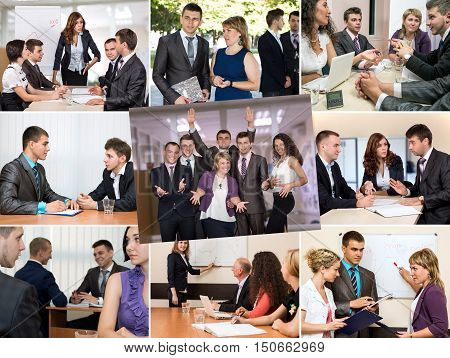 Photo Collage telling Story of Business Team Success Nine Images with typical working Situations