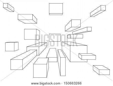 Many cubes in linear perspective with one point of vanishing isolated on white