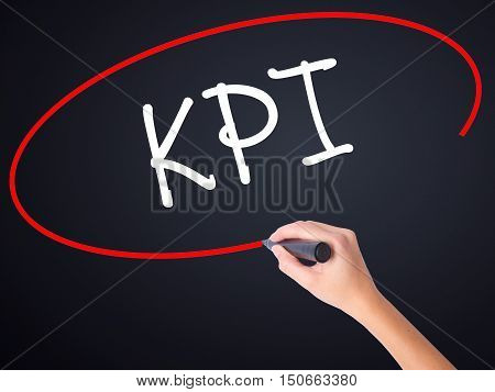 Woman Hand Writing Kpi (key Performance Indicator) With A Marker Over Transparent Board
